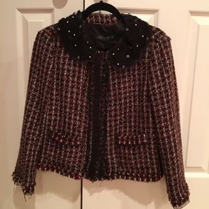 NWT Zara Tweed Jewel PeterPan Collar Blazer Jacket